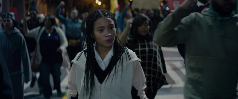 Nike Women's White Hooded Jacket Worn by Amandla Stenberg in The Hate U Give (2018) - Movie Product Placement
