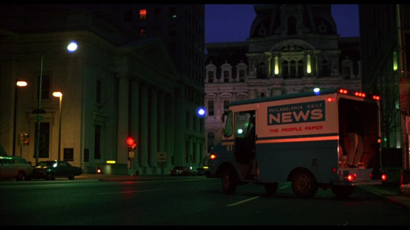 Philadelphia Daily News Tabloid Newspaper Truck in Rocky (1976) - Movie Product Placement