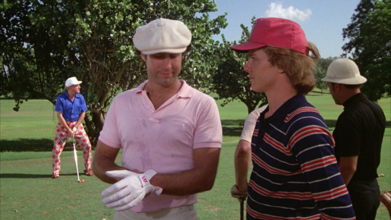 Ralph Lauren Polo Shirt and Wilson Golf Glove Worn by Chevy Chase in Caddyshack (1980) - Movie Product Placement