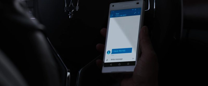Sony Xperia Android OS White Smartphone  Used by Taraji P. Henson in Proud Mary (2018) Movie Product Placement