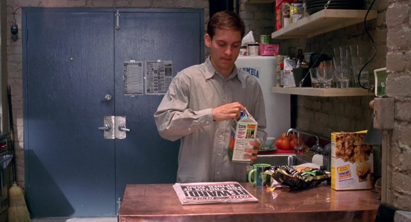 Tropicana Orange Juice Held by Tobey Maguire and Triscuit Crackers in Spider-Man (2002) - Movie Product Placement