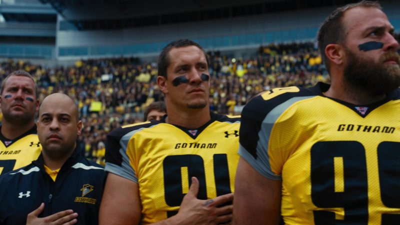 Under Armour Yellow Jerseys For American Football Players in The Dark Knight Rises (2012) Movie Product Placement