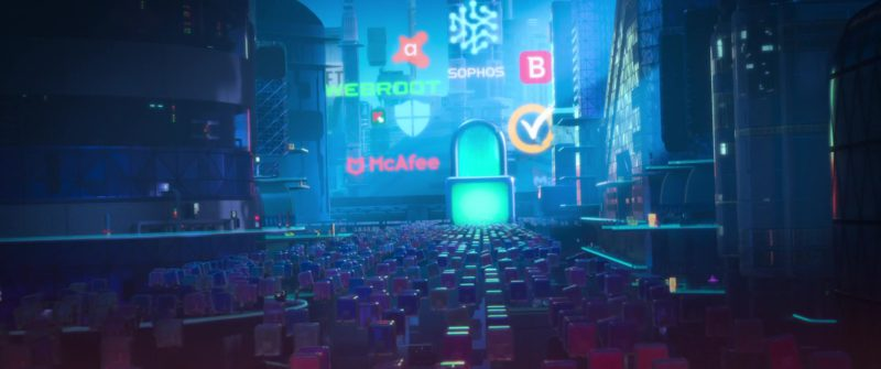 Avast Antivirus, Webroot, Sophos, Kaspersky Antivirus, McAfee, Norton by Symantec in Ralph Breaks the Internet (2018) - Animation Movie Product Placement