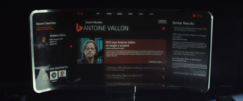 Bing Web Search Engine in RoboCop (2014) Movie Product Placement