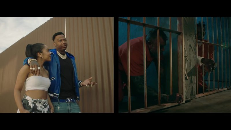 """Chanel Men's Blue Bomber Jacket in """"Lower Level"""" by Moneybagg Yo ft. Kodak Black (2019) Official Music Video Product Placement"""