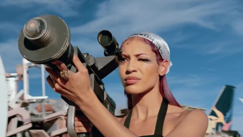 "Chanel Scarf (Bandana Head Wrap) Worn by Model in ""Racks on Racks"" by Lil Pump (2019) Official Music Video Product Placement"