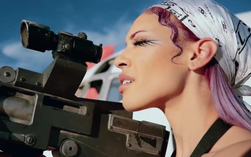 Chanel Scarf (Bandana Head Wrap) Worn by Model in Racks on Racks by Lil Pump (6)