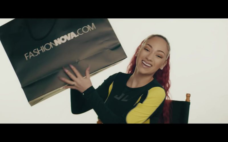 "FashionNova Black Online Store Paper Bag Held by Bhad Bhabie (Danielle Bregoli) in ""Bestie"" ft. Kodak Black (1)"