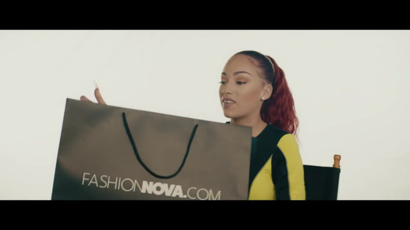 """FashionNova Online Store Black Paper Bag Held by Bhad Bhabie (Danielle Bregoli) in """"Bestie"""" ft. Kodak Black (2019) - Official Music Video Product Placement"""