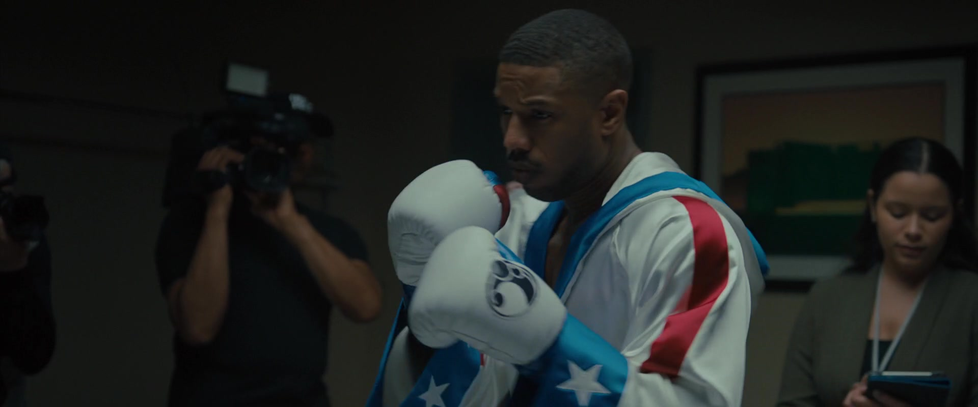493bfb4ee57e1b Grant White Boxing Gloves Worn by Michael B. Jordan in Creed 2 (2018 ...