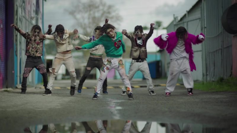 Gucci Green Snake Print Logo Sweatshirt Worn by Zombie in Be Like Me by Lil Pump (2019) Official Music Video Product Placement