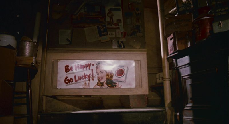 """Lucky Strike Cigarettes Poster """"Be Happy - Go Lucky!"""" in Who Framed Roger Rabbit (1988) - Movie Product Placement"""