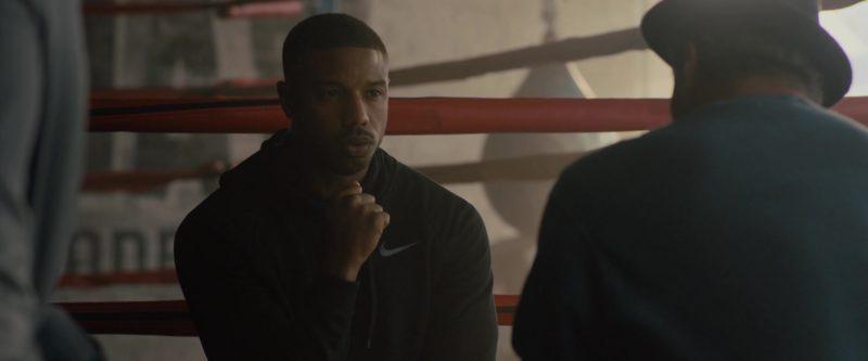 Nike Black Hoodie Worn by Michael B. Jordan in Creed 2 (2018) Movie Product Placement