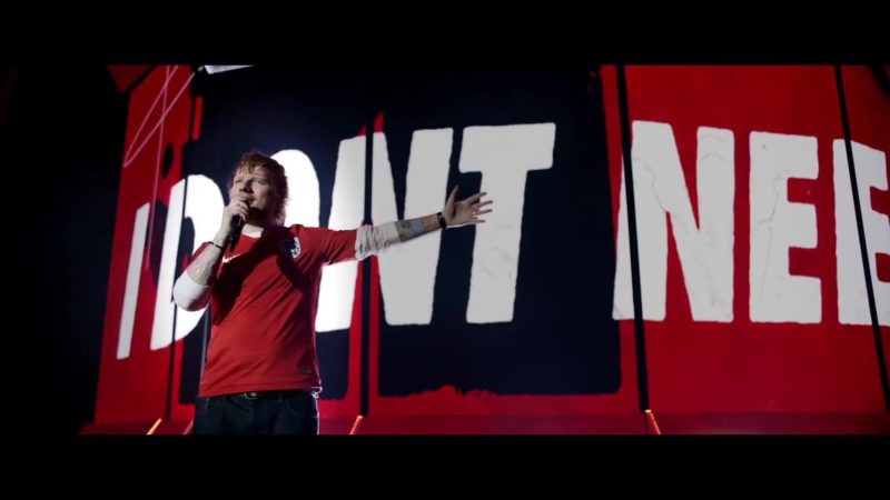 Nike Red T-Shirt Worn by Ed Sheeran in Yesterday (2019) Movie Product Placement