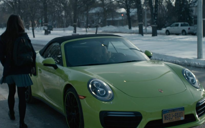 Porsche 911 Turbo Green Convertible Sports Car Driven by Penelope Mitchell in Look Away (1)