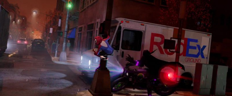 RedEx (FedEx) Trucks in Spider-Man: Into the Spider-Verse (2018) Animation Movie Product Placement