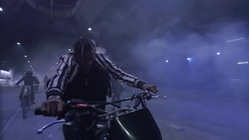 Saint Laurent Black & White Striped Button Down Jacket Worn by Travis Scott in Can't Say (2019) Official Music Video Product Placement