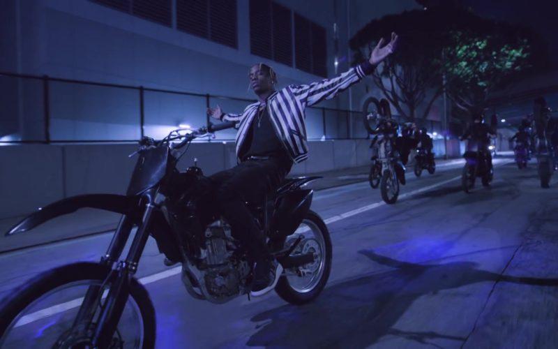 Saint Laurent Black & White Striped Button Down Jacket Worn by Travis Scott in Can't Say (9)