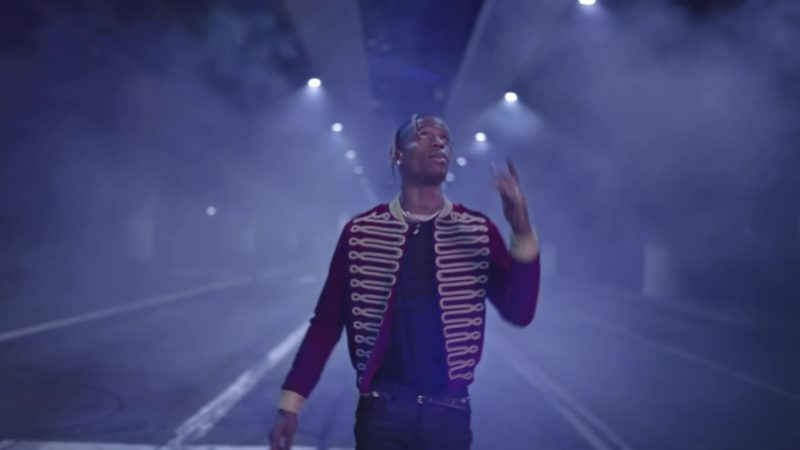 Saint Laurent Red Velvet Military Jacket Worn by Travis Scott in Can't Say (2019) - Official Music Video Product Placement