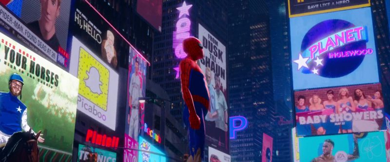Snapchat Logo and Planet Inglewood (Planet Hollywood) in Spider-Man: Into the Spider-Verse (2018) Animation Movie Product Placement