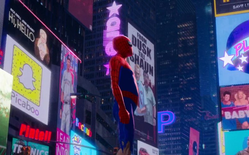Snapchat Logo and Planet Inglewood (Planet Hollywood) in Spider-Man Into the Spider-Verse