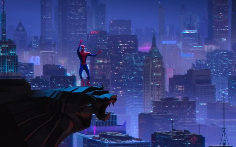 Sony Blue Sign in Spider-Man Into the Spider-Verse