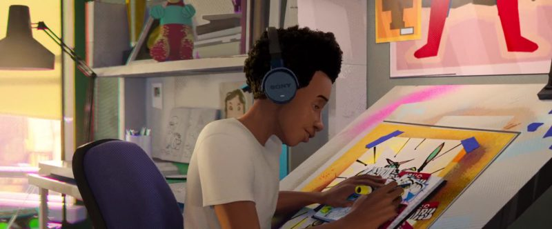 Sony Headphones Used by Miles Morales in Spider-Man: Into the Spider-Verse (2018) - Animation Movie Product Placement
