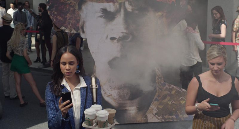 Starbucks Coffee Cups Held by Zawe Ashton in Velvet Buzzsaw (2019) Movie Product Placement