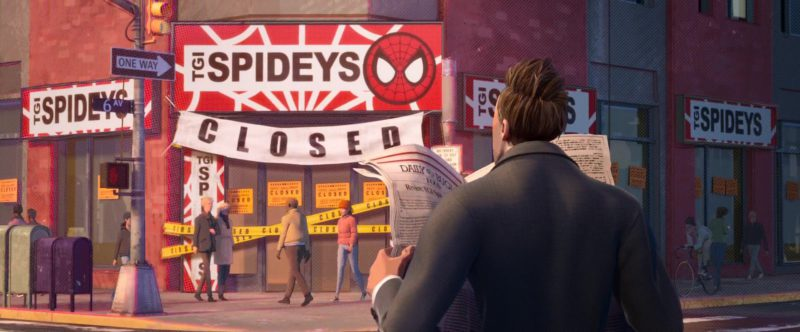 TGI Spideys (T.G.I. Friday's) in Spider-Man: Into the Spider-Verse (2018) Animation Movie Product Placement