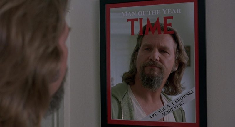 Time Magazine Mirror in The Big Lebowski (1998) Movie Product Placement