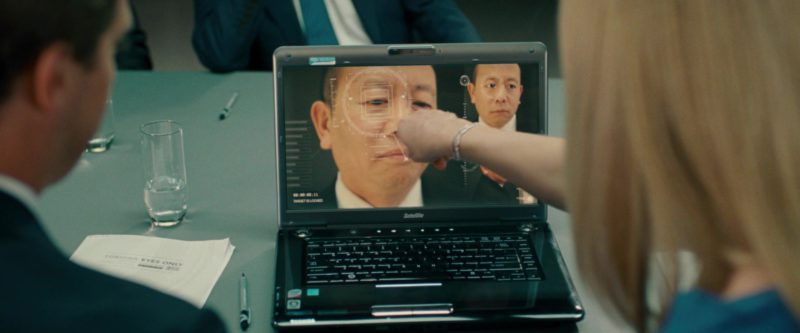 Toshiba Satellite Laptop and Skype Sticker in Johnny English Reborn (2011) - Movie Product Placement