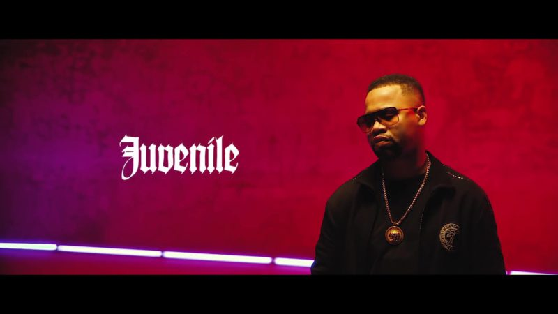 "Versace Men's Black Jacket and Gold Necklace Worn by Juvenile in ""Just Another Gangsta"" (2019) Official Music Video Product Placement"
