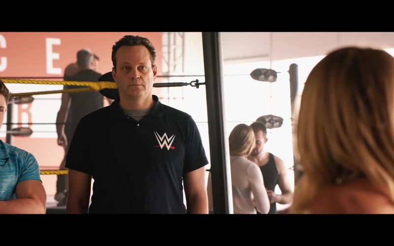 WWE Logo Black Polo Shirt Worn by Vince Vaughn in Fighting with My Family (1)