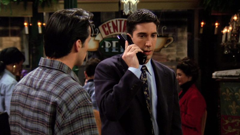 "AT&T Telephone Held by David Schwimmer (Ross Geller) in Friends Season 1 Episode 22 ""The One With the Ick Factor"" (1995) - TV Show Product Placement"