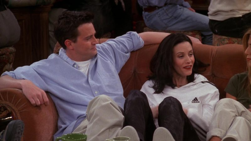 """Adidas Hoodie Worn by Courteney Cox (Monica Geller) in Friends Season 5 Episode 20 """"The One with the Ride-Along"""" (1999) - TV Show Product Placement"""