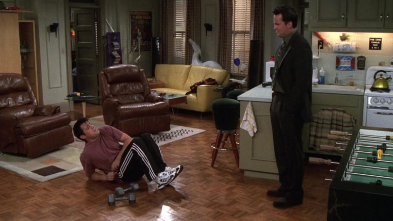 """Adidas Sneakers and Trackpants Worn by Matt LeBlanc (Joey Tribbiani) in Friends Season 6 Episode 4 """"The One Where Joey Loses His Insurance"""" (1999) TV Show Product Placement"""