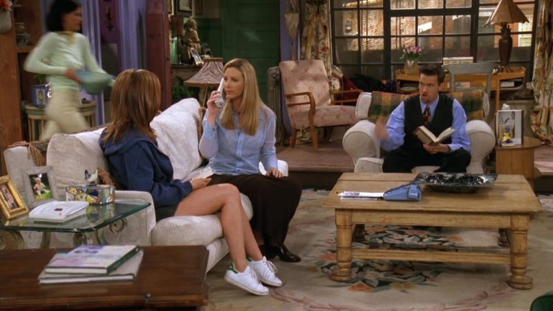 """Adidas White Shoes Worn by Jennifer Aniston (Rachel Green) in Friends Season 3 Episode 22 """"The One With the Screamer"""" (1997) - TV Show Product Placement"""