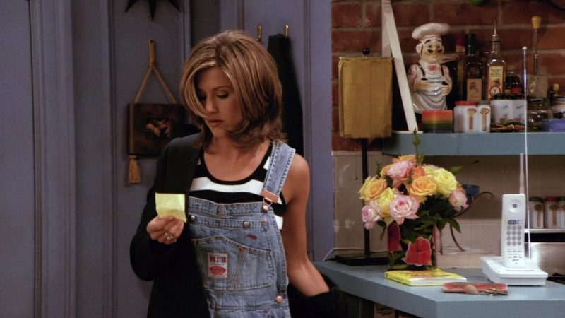"""Big Star Denim Overall Shorts Worn by Jennifer Aniston (Rachel Green) in Friends Season 2 Episode 1 """"The One with Ross's New Girlfriend"""" (1995) - TV Show Product Placement"""