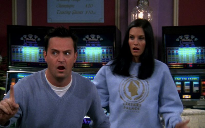 Caesars Palace Casino Blue Sweatshirt Worn by Courteney Cox (Monica Geller) in Friends Season 6 (4)