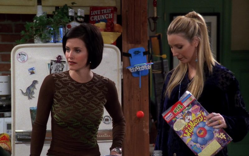 Cap'n Crunch Cereal and Trix Cereal Held by Lisa Kudrow (Phoebe Buffay) in Friends Season 4 Episode 14