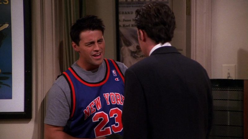 """Champion NBA Jersey Worn by Matt LeBlanc (Joey Tribbiani) in Friends Season 7 Episode 1 """"The One With Monica's Thunder"""" (2000) - TV Show Product Placement"""
