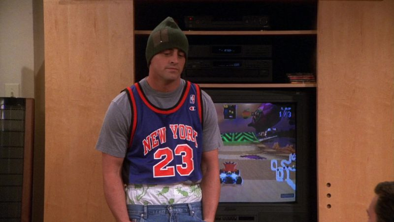 """Champion NBA Jersey Worn by Matt LeBlanc (Joey Tribbiani) in Friends Season 7 Episode 1 """"The One With Monica's Thunder"""" (2000) TV Show Product Placement"""