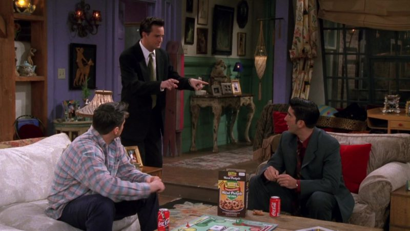 """Coca-Cola Classic Cans in Friends Season 4 Episode 8 """"The One with Chandler in a Box"""" (1997) - TV Show Product Placement"""