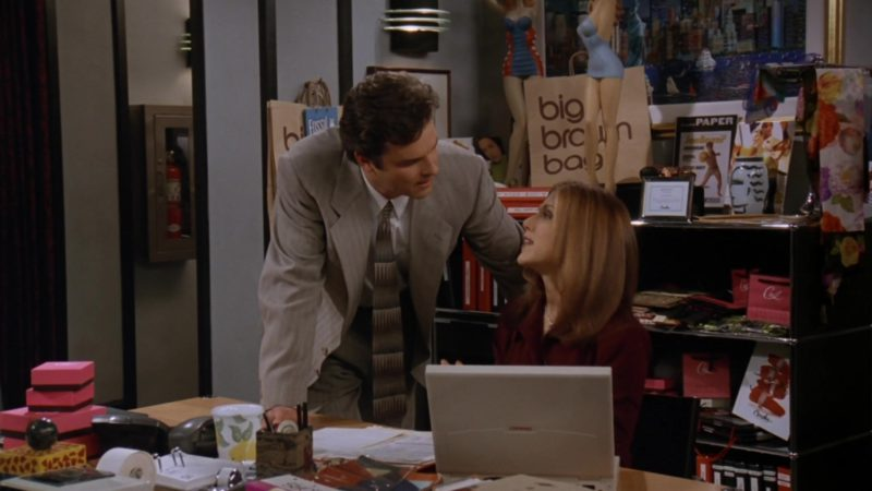 "Compaq Laptop Used by Jennifer Aniston (Rachel Green) and Bloomingdale's Big Brown Bags in Friends Season 3 Episode 12 ""The One With All the Jealousy"" (1997) TV Show Product Placement"