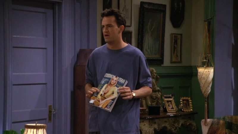 """Cosmopolitan Magazine Held by Matthew Perry (Chandler Bing) in Friends Season 3 Episode 2 """"The One Where No One's Ready"""" (1996) - TV Show Product Placement"""