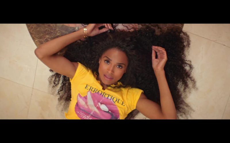 Errortique Cropped Yellow Tongue & Lips Print Tee Worn by Ciara (34)
