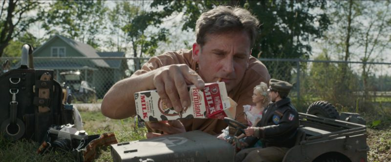 Farmland Fresh Dairies Milk Held by Steve Carell in Welcome to Marwen (2018) - Movie Product Placement