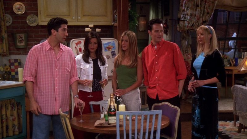 """Grand Brut Perrier Jouët Champagne in Friends Season 7 Episode 1 """"The One With Monica's Thunder"""" (2000) - TV Show Product Placement"""