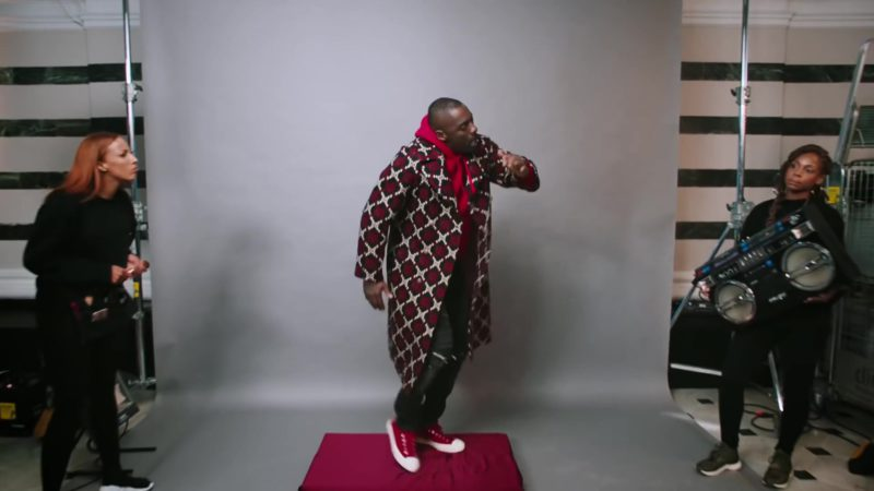 "Gucci Men's Coat Worn by Idris Elba in ""Boasty"" by Wiley, Sean Paul, Stefflon Don (2019) Official Music Video Product Placement"