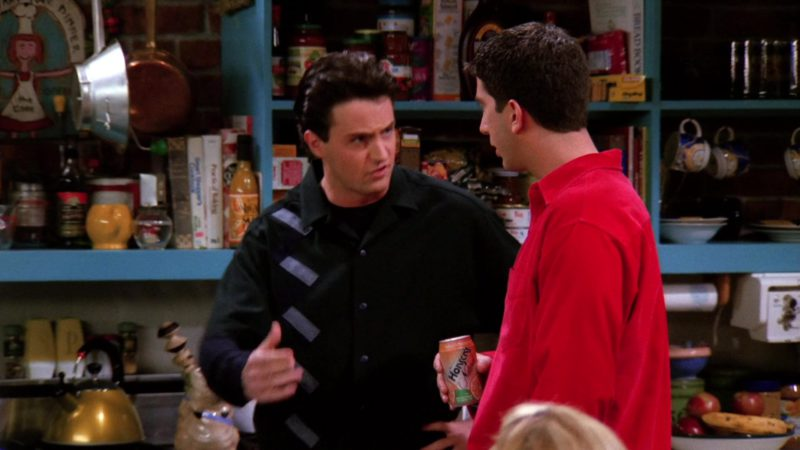 """Hansen's Drink Held by David Schwimmer (Ross Geller) in Friends Season 1 Episode 20 """"The One With the Evil Orthodontist"""" (1995) TV Show Product Placement"""